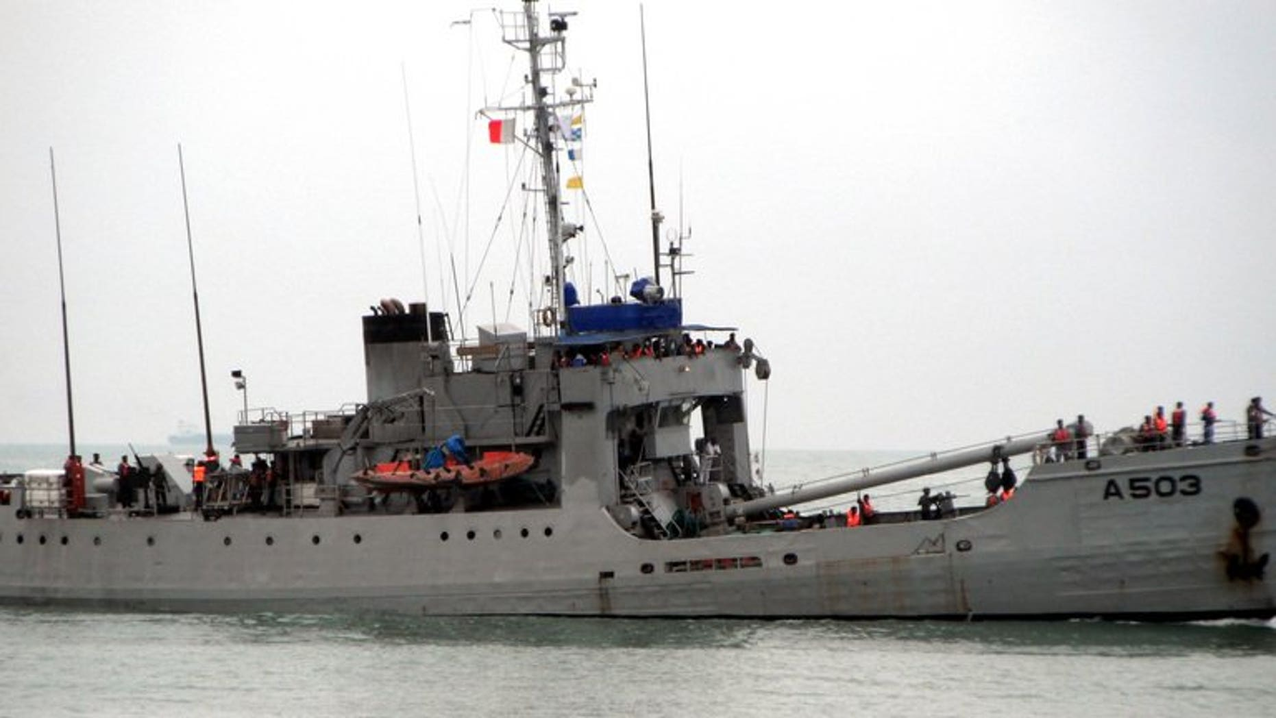 A ship of the Nigerian navy, taking part in a counter-piracy patrol on September 28, 2011. Wast Africa has overtaken Somalia as the world's piracy hot-spot with 966 sailors attacked last year, a report by the International Maritime Bureau (IMB) said on Tuesday.