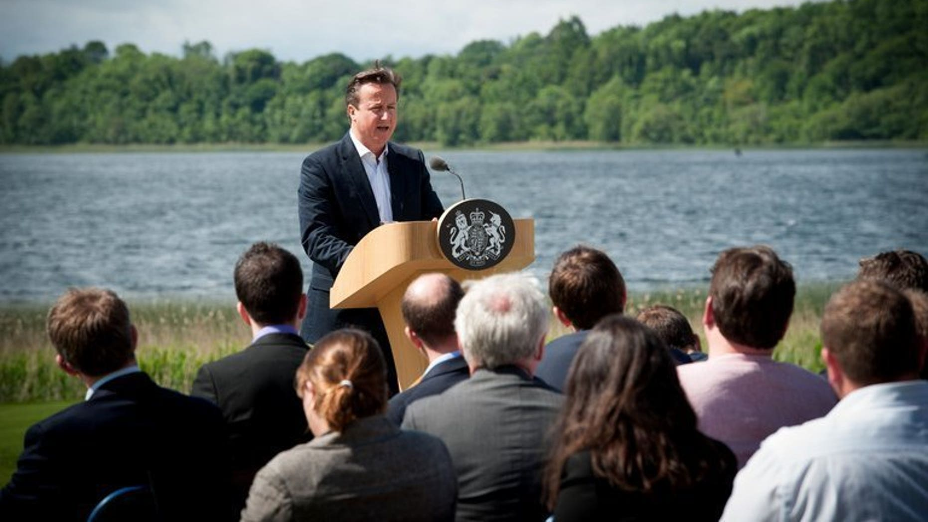 British Prime Minister David Cameron speaks during a press conference at the end of the G8 summit at Lough Erne resort, Northern Ireland, June 18, 2013. A dip in the icy waters of a Northern Irish lake proved the ideal tonic before a day of tough talks with G8 leaders on tax evasion and the Syria crisis, Cameron said on Tuesday.