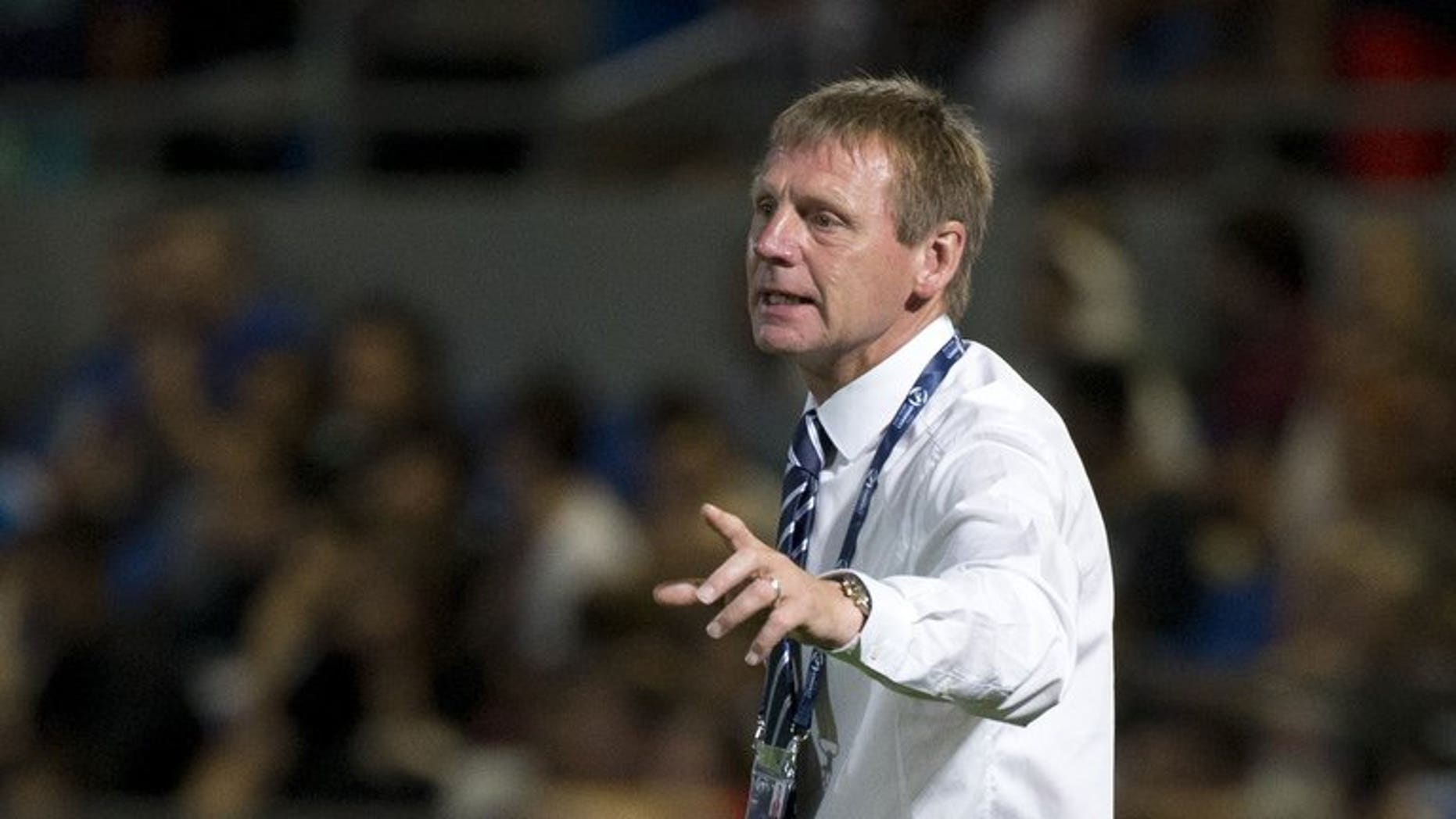 England's coach Stuart Pearce reacts during the 2013 UEFA U-21 Championship group A football match between England and Italy at Bloomfield Stadium in Tel Aviv on June 5, 2013. Pearce's reign as England Under-21 coach came to an end on Tuesday as it was announced he would not be offered a new contract following the side's humiliating first round exit at the European championships this month.