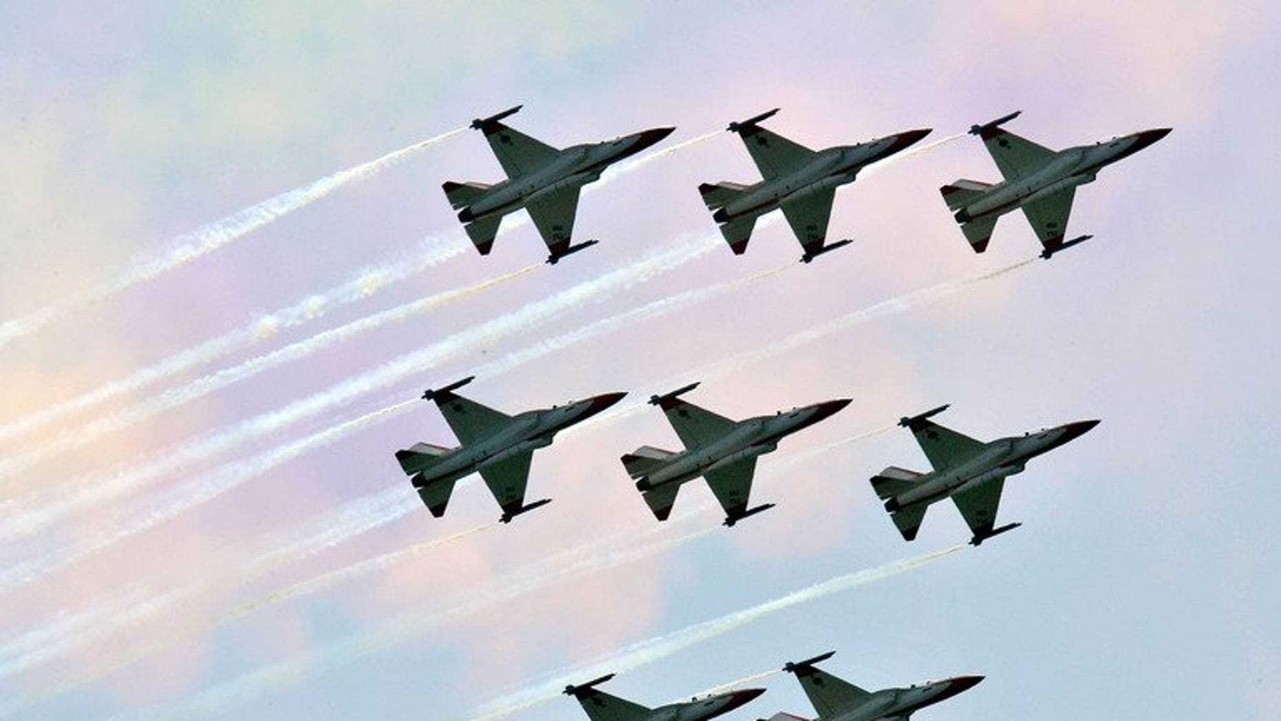 This file photo shows South Korea's T-50 supersonic jets, pictured in Gyeryong, south of Seoul, on October 1, 2009. S.Korea will buy European bunker-busting missiles as the United States refused to sell the same kind of weapons to the country, the state procurement agency said on Wednesday.