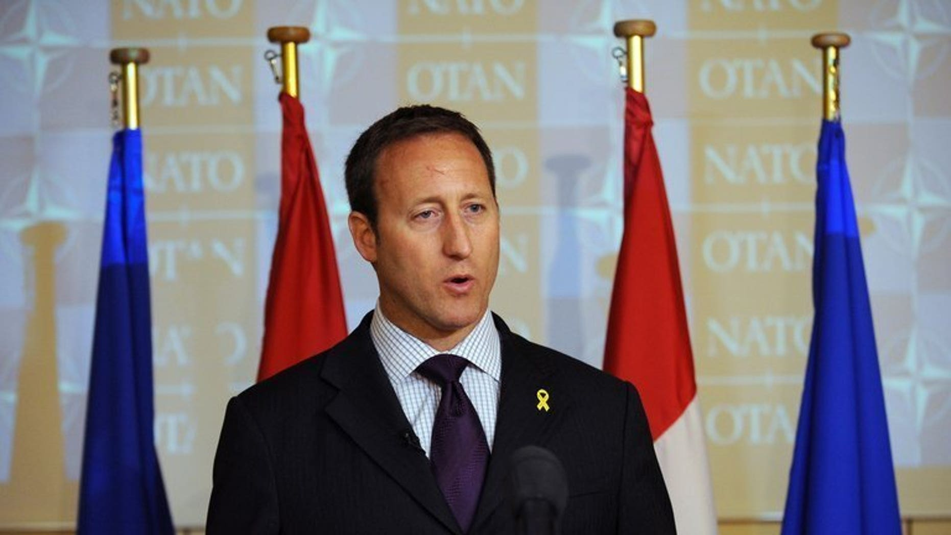 Canadian Defence minister Peter Gordon Mackay at a press conference in Brussels, on June 9, 2011. Canada will send a platoon to join Brazilian troops attempting to stabilize Haiti as the hurricane season looms, MacKay announced Wednesday.