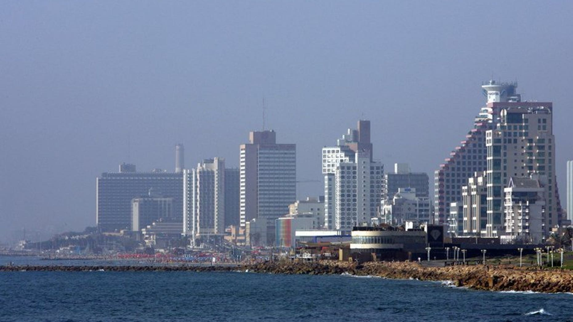 A portion of the skyline of the Israeli city of Tel Aviv, June 28, 2007. A new Israel-based 24-hour TV news channel broadcasting in English, French and Arabic is to go on air on July 1, its CEO says.
