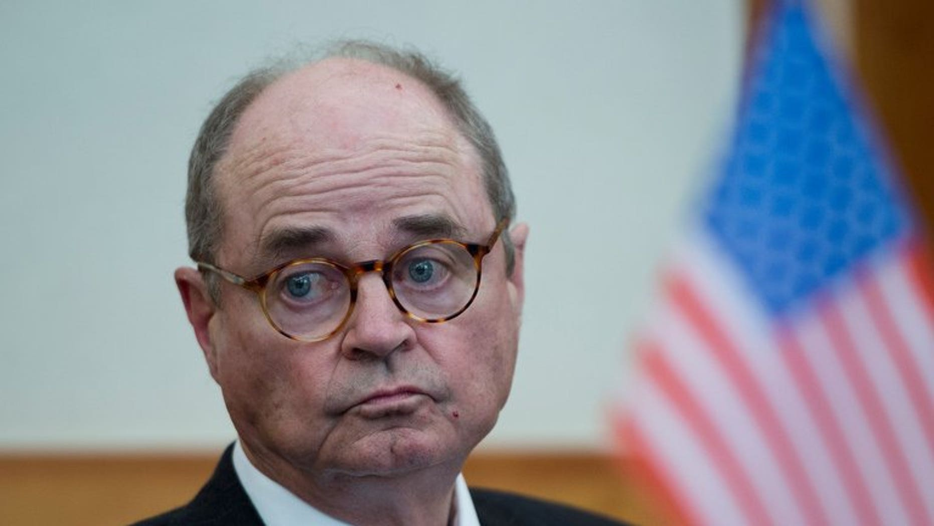 James Dobbins, the US special representative on Afghanistan and Pakistan, addresses a press conference in Berlin on May 14, 2013. State Department officials said that they did not have a timeline for when Dobbins will start potential talks with the Taliban.
