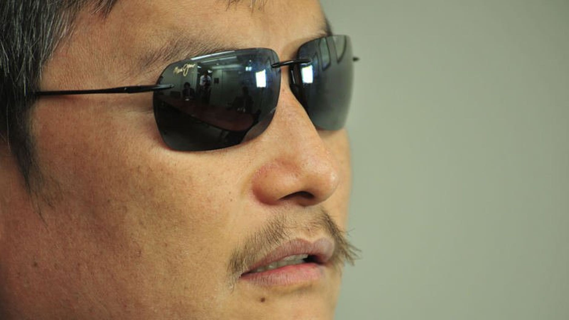 Chinese human rights activist, Chen Guangcheng, during an interview with AFP on April 9, 2013 in Washington, DC. A New York University official in China has shrugged off allegations that Chinese political pressure over its Shanghai campus had led the US school to end the studies of dissident Chen Guangcheng.