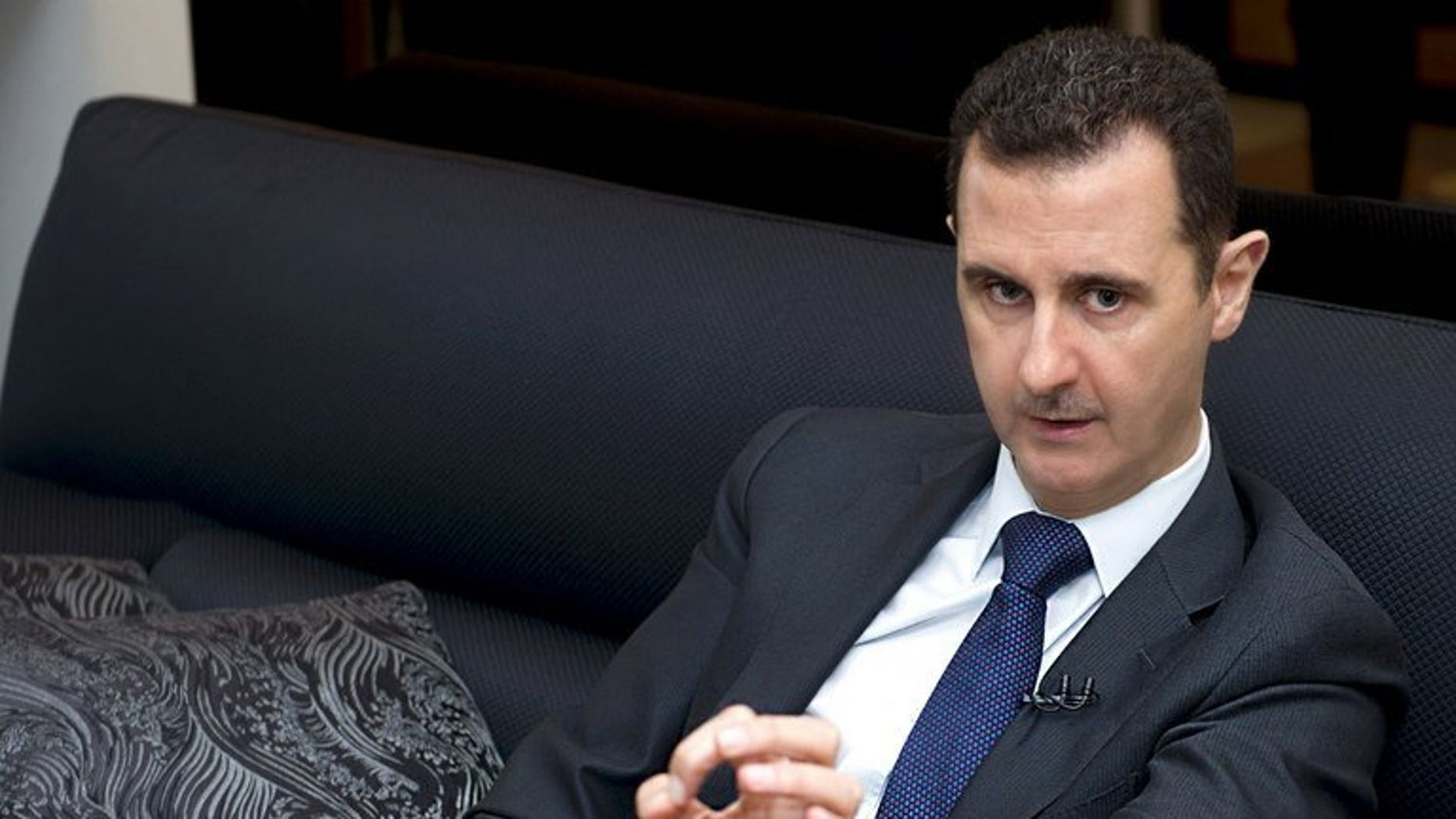A handout picture released by the Syrian Arab News Agency (SANA) on June 17, 2013, shows Syrian President Bashar al-Assad speaking during an interview with the Frankfurter Allgemeine Zeitung newspaper in Damascus. Assad has ordered a pay rise for all military and civil service personnel, as his regime sought to give its loyalists some protection against soaring inflation.