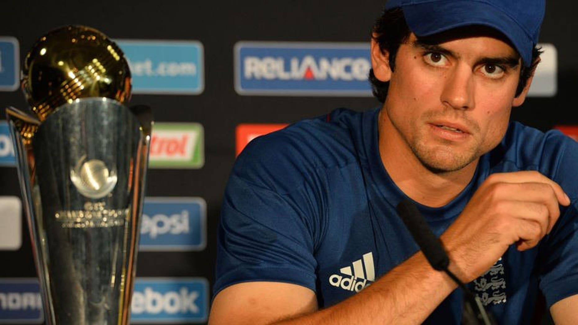 """England cricket captain Alistair Cook speaks during a news conference at Edgbaston in Birmingham on June 22, 2013, a day ahead of the Champions Trophy final against India. Cook insisted his side were """"ready"""" to make history by beating world champions India in the tournament final."""