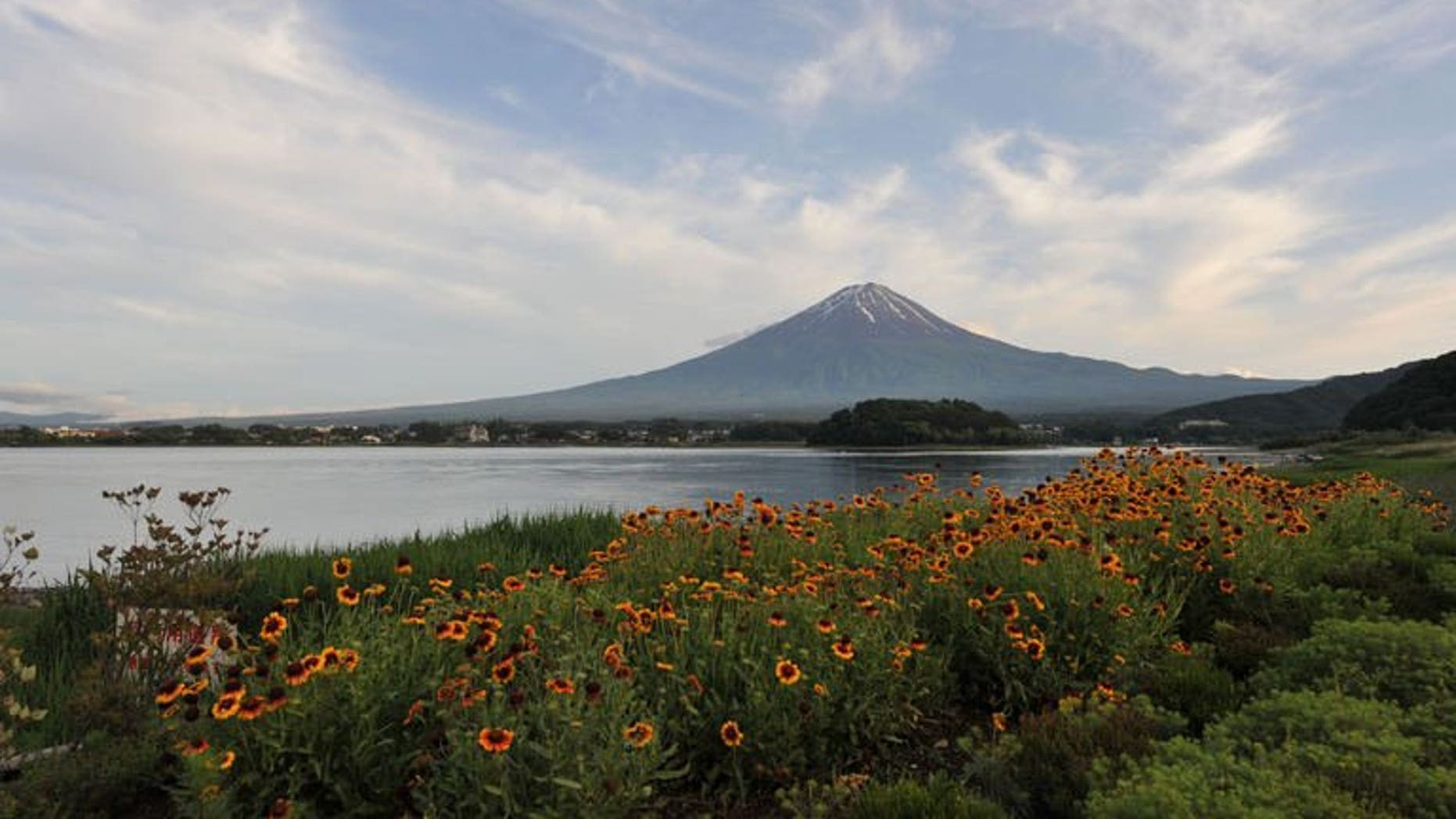 This picture taken on June 16, 2013 shows Mount Fuji, the highest mountain in Japan at 3,776 metres (12,460 feet). Residents in towns around Mount Fuji celebrate after UNESCO grants World Heritage status to the volcano.