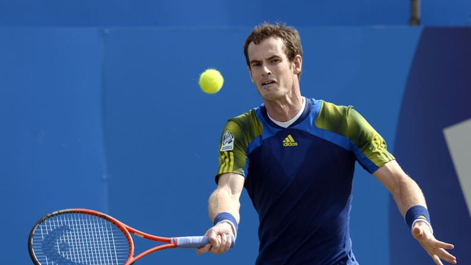 Britain's Andy Murray returns to Croatia's Marin Cilic during their ATP Aegon Championships final tennis match at the Queen's Club in west London on June 16, 2013. Murray believes the seeds for his historic Olympic and US Open triumphs were sown by his tearful defeat to Roger Federer in last year's Wimbledon final.
