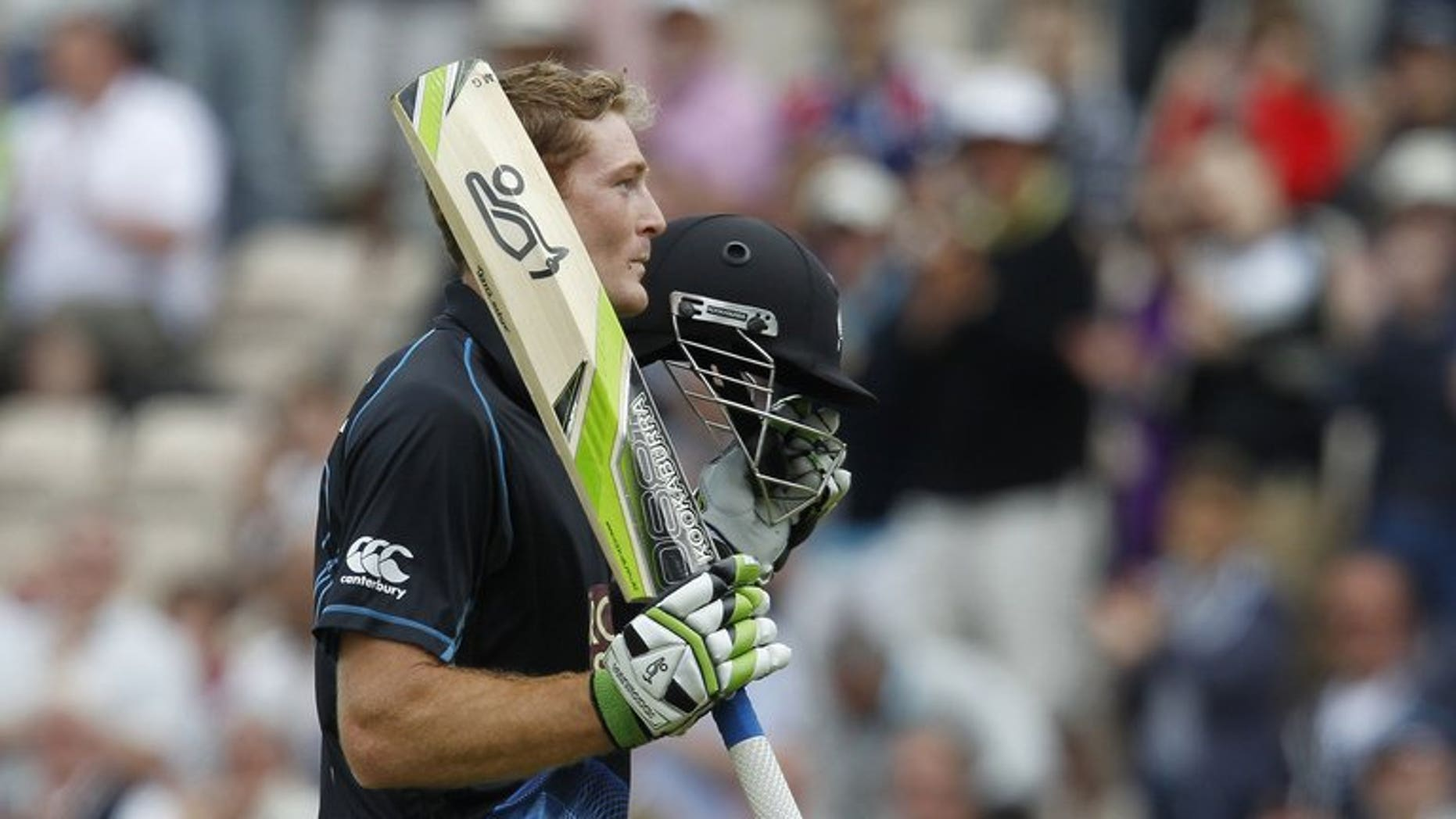 New Zealand's Martin Guptill acknowledges the crowd on June 2, 2013. New Zealand eased to a 42-run victory over Kent at Canterbury on Saturday as they warmed-up for their two Twenty20 internationals against England.
