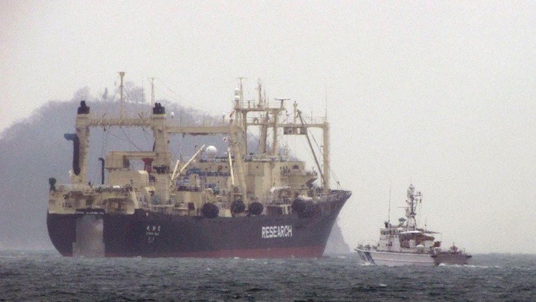 "File picture shows Japan's whaling research ship the 'Nisshin Maru' leaving the port in Hiroshima prefecture, in December last year. Australia's Attorney-General Mark Dreyfus said Sunday he was hopeful the government would win its case against Japan's ""scientific"" whaling which begins this week in the International Court of Justice."
