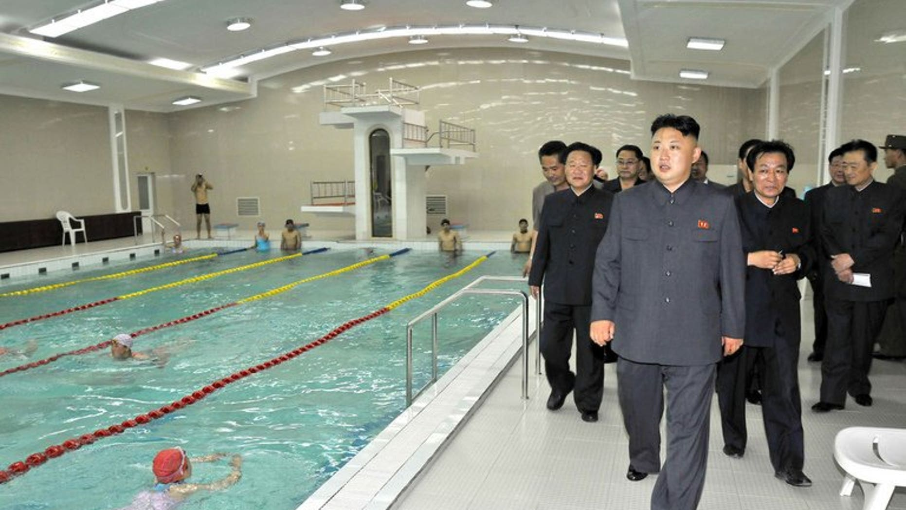 """North Korean leader Kim Jong-Un inspects a swimming pool, in a photo repleased by state media on June 22, 2013. North Korea has blamed the United States for escalating tensions on the Korean peninsula and called for """"real actions"""" if Washington wants peace."""