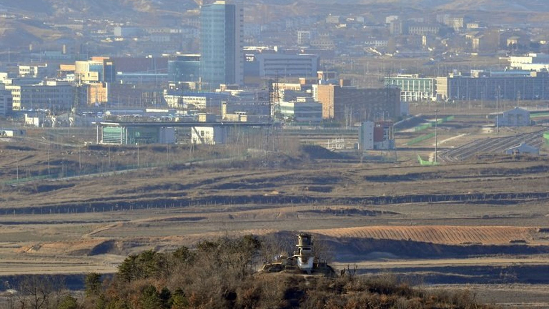 View from South Korea of the North Korean city of Kaesong on December 22, 2011. Royal tombs, fortress walls and a 700-year-old school in Kaesong were among a dozen monuments granted World Heritage status by UNESCO at its annual meet.