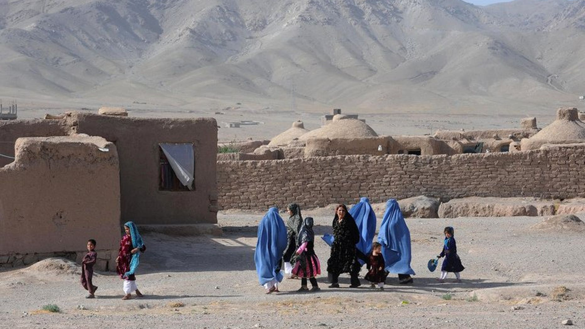 "Afghan women, with their children, walk on the outskirts of Herat on June 11, 2013. US Secretary of State John Kerry has called for a ""central role"" for India in Afghanistan's 2014 elections as he warned of potential difficulties in the war-torn nation as US forces withdraw."