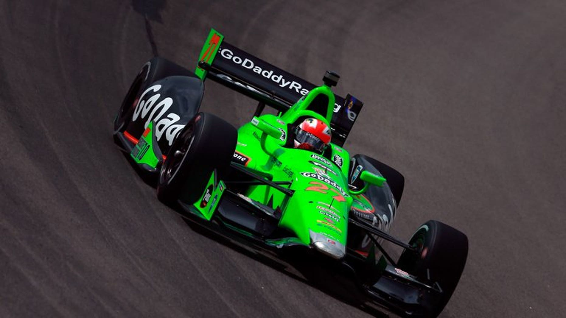 James Hinchcliffe of Canada drives the #27 GoDaddy Andretti Autosport Chevrolet during practice for the Iowa Corn Indy 250 at Iowa Speedway on June 22, 2013 in Newton, Iowa. Hinchcliffe won the Iowa Corn Indy 250 on Sunday, collecting his season-high third victory of the IndyCar campaign and his first career oval-course triumph in the series.