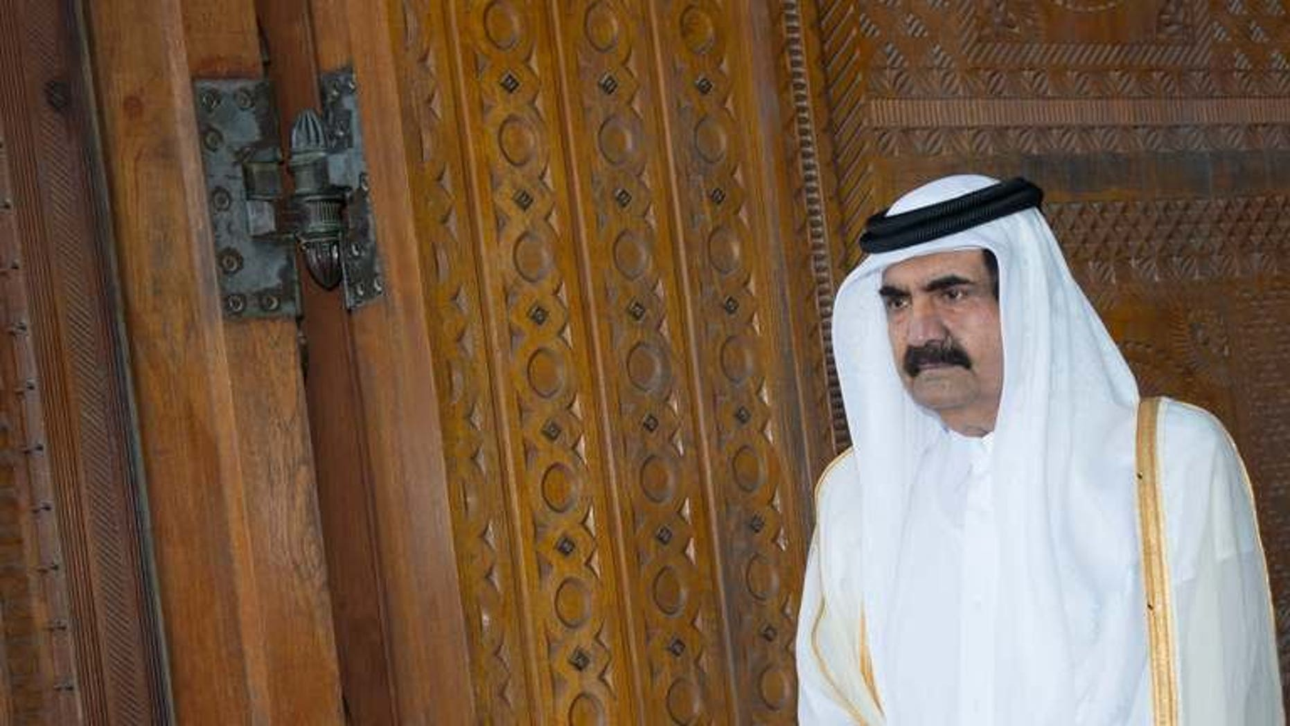 Qatari Emir Sheikh Hamad bin Khalifa al-Thani is pictured in Doha on June 23, 2013. The emir is expected to meet members of the royal family Monday, with Qatari officials and diplomats saying a transfer of power to his son, Crown Prince Sheikh Tamim bin Hamad al-Thani, is imminent.
