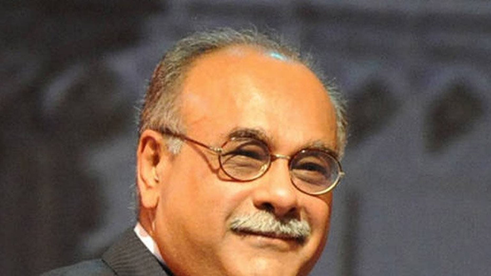 Najam Sethi at an event in Hyderabad, India, in 2009. Pakistan's interim cricket chief said Monday he would ask the sport's governing body to reduce a five-year ban against promising fast bowler Mohammad Aamer for spot fixing.