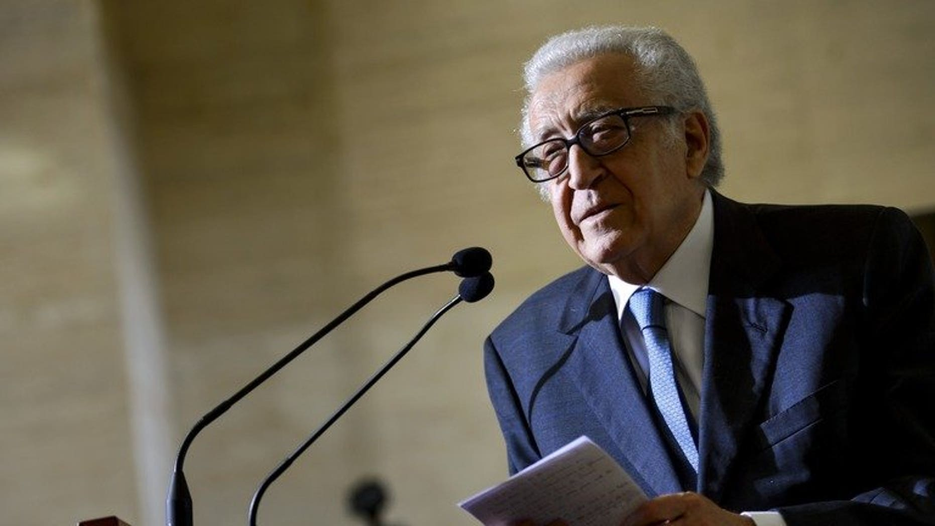 UN peace envoy to Syria Lakhdar Brahimi speaks during a press conference upon his arrival on June 25, 2013 at the United Nations (UN) office in Geneva. A widely anticipated peace conference for Syria will probably not take place next month as hoped, Brahimi said Tuesday.