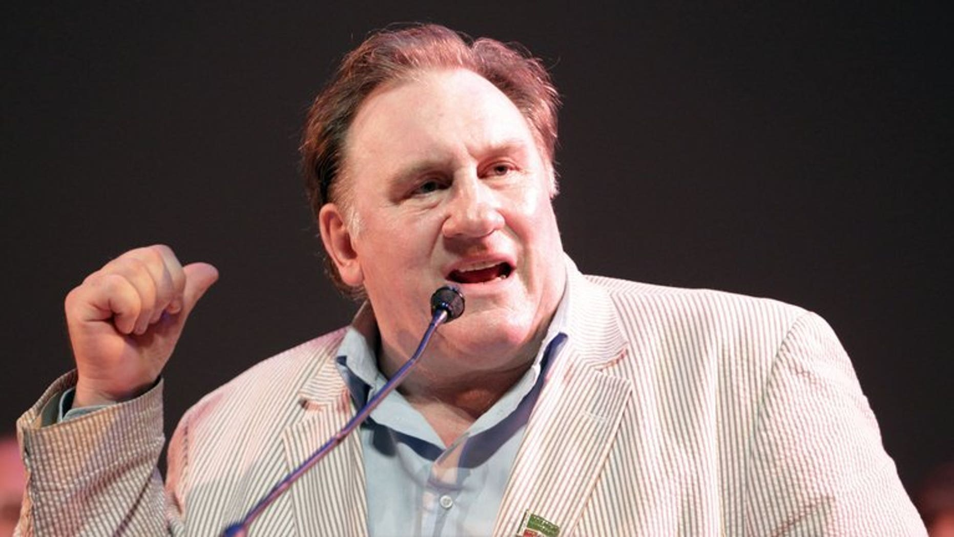 "French film star Gerard Depardieu presents the film ""Raspoutine"" during the first Russian film festival in Nice, southeast France on June 16, 2013. Depardieu was slightly injured in a traffic accident in central Moscow, where he is shooting scenes of his latest film, Russian media reported Tuesday."