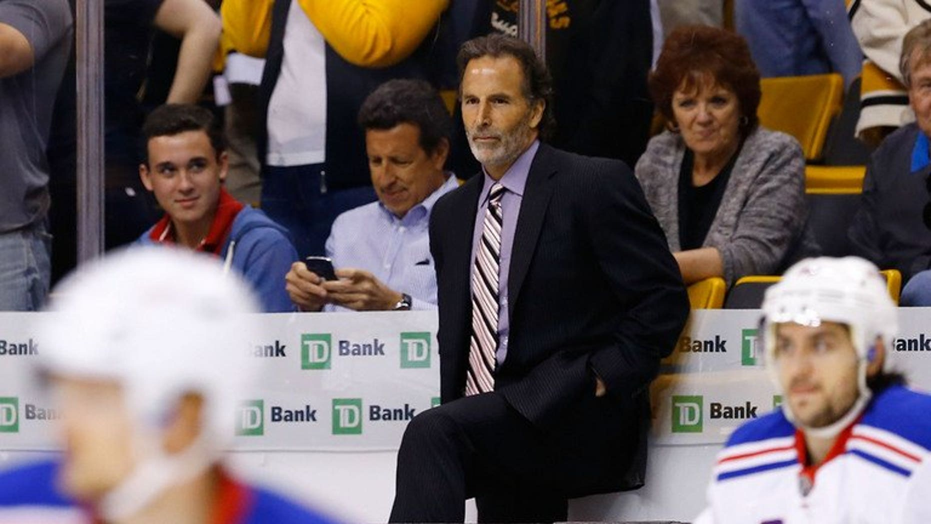 John Tortorella is seen during the 2013 NHL Stanley Cup Playoffs on May 19, 2013 at TD Garden in Boston, Massachusetts. Tortorella was named coach of the National Hockey League's Vancouver Canucks on Tuesday, completing what turned out to be a swap of coaches with the New York Rangers.