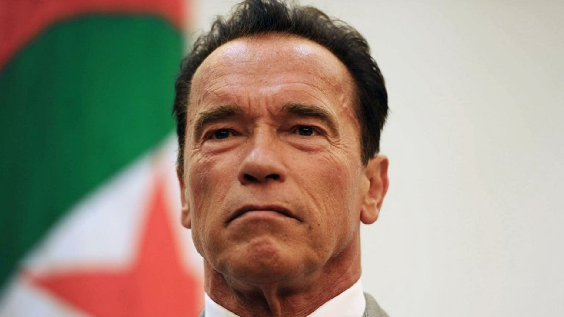 """Arnold Schwarzenegger attends a press conference in Algiers on June 25, 2013. US actor and former California governor Schwarzenegger vowed in Algeria on Tuesday to press his bid to """"terminate"""" threats to the environment through his climate action campaign."""