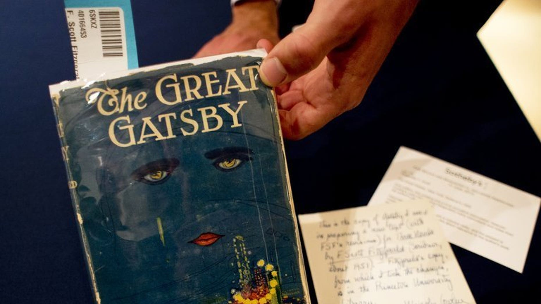 "A copy of ""The Great Gatsby"" by F. Scott Fitzgerald is displayed June 6, 2013 at Sotheby's in New York. A French Riviera villa where ""The Great Gatsby"" author Francis Scott Fitzgerald and his wife Zelda lived between 1922 and 1924 is up for sale for 27.5 million euros ($36 million), Sotheby's International Realty said on Friday."