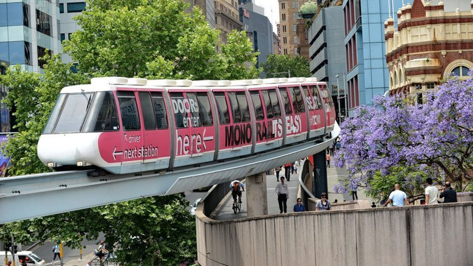 A monorail carriage heads towards Darling Harbour in downtown Sydney on November 9, 2012. The New South Wales state government announced in March that the controversial above-ground rail link would be pulled down.