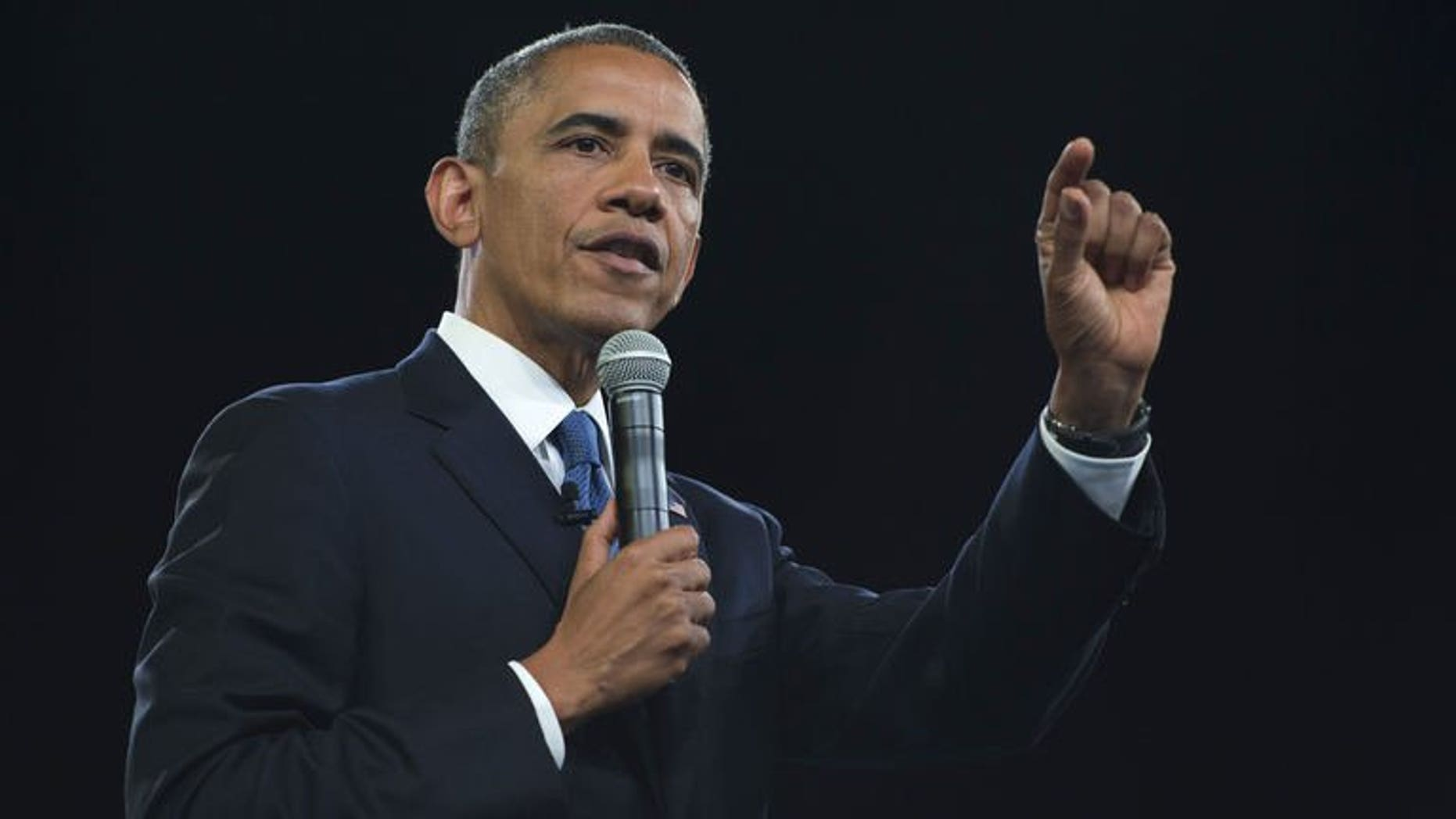 US President Barack Obama speaks during a meeting at the University of Johannesburg Soweto in Johannesburg, South Africa, on June 29, 2013.