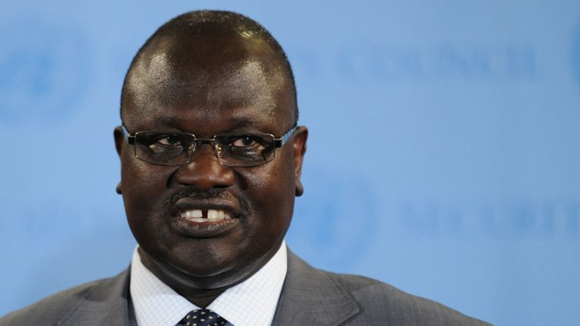Riek Machar, Vice President of South Sudan, speaks to the media on July 13, 2011 at UN headquarters in New York. Machar arrived in the Sudanese capital seeking to ease tensions after Khartoum threatened to halt oil flows worth billions of dollars to both impoverished neighbours.