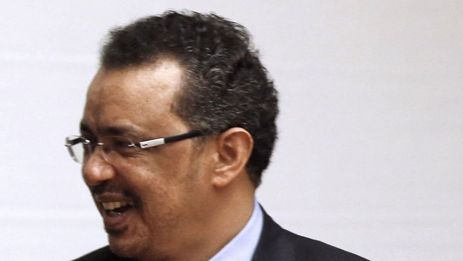 Ethiopian Foreign Foreign Minister Tedros Adhanom is pictured in Addis Ababa, on May 25, 2013. Ethiopia is hoping that talks with Egypt will ease a row over sharing the waters of the Nile, Adhanom said on Sunday during a trip to Algeria.