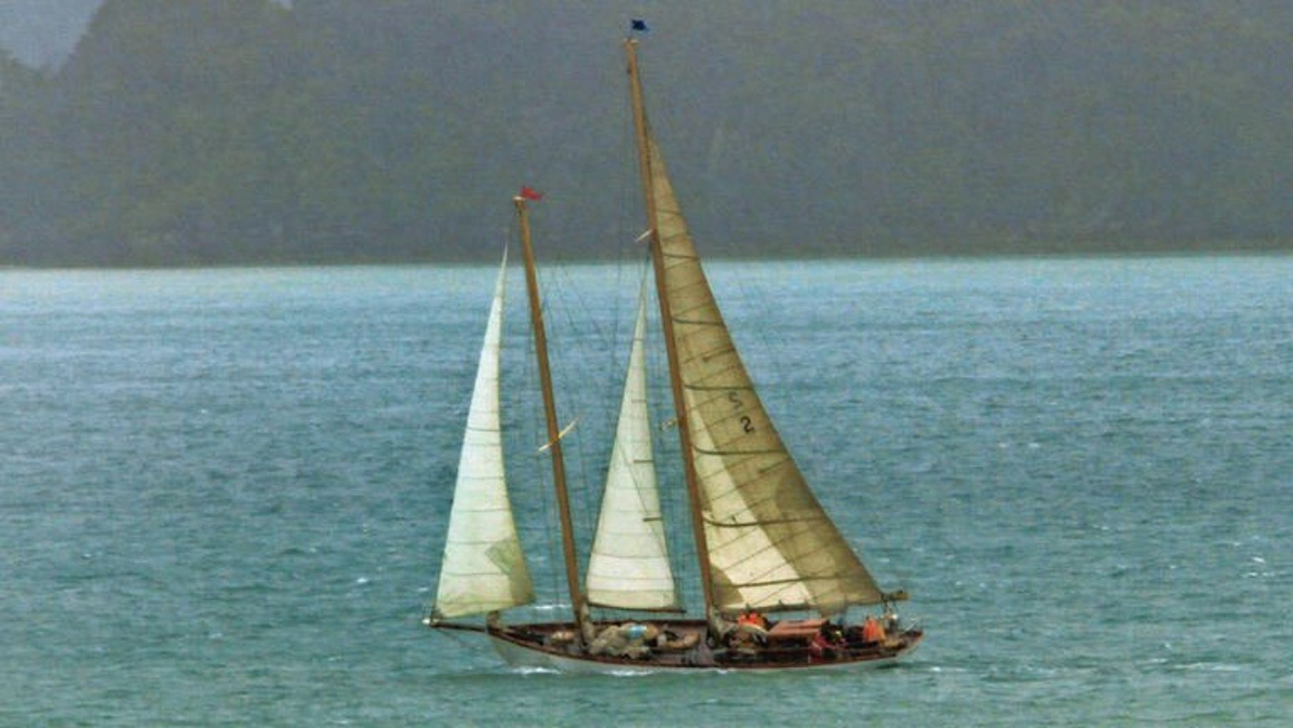 21-m (70-foot) vintage wooden yacht Nina, built in 1928, pictured during the Tall Ships and Classic Yacht regatta day, off Russell Village in Northland, New Zealand, in January 2012. Nina disappeared almost four weeks ago after setting off from New Zealand's North Island to cross the notorious Tasman Sea to Australia.