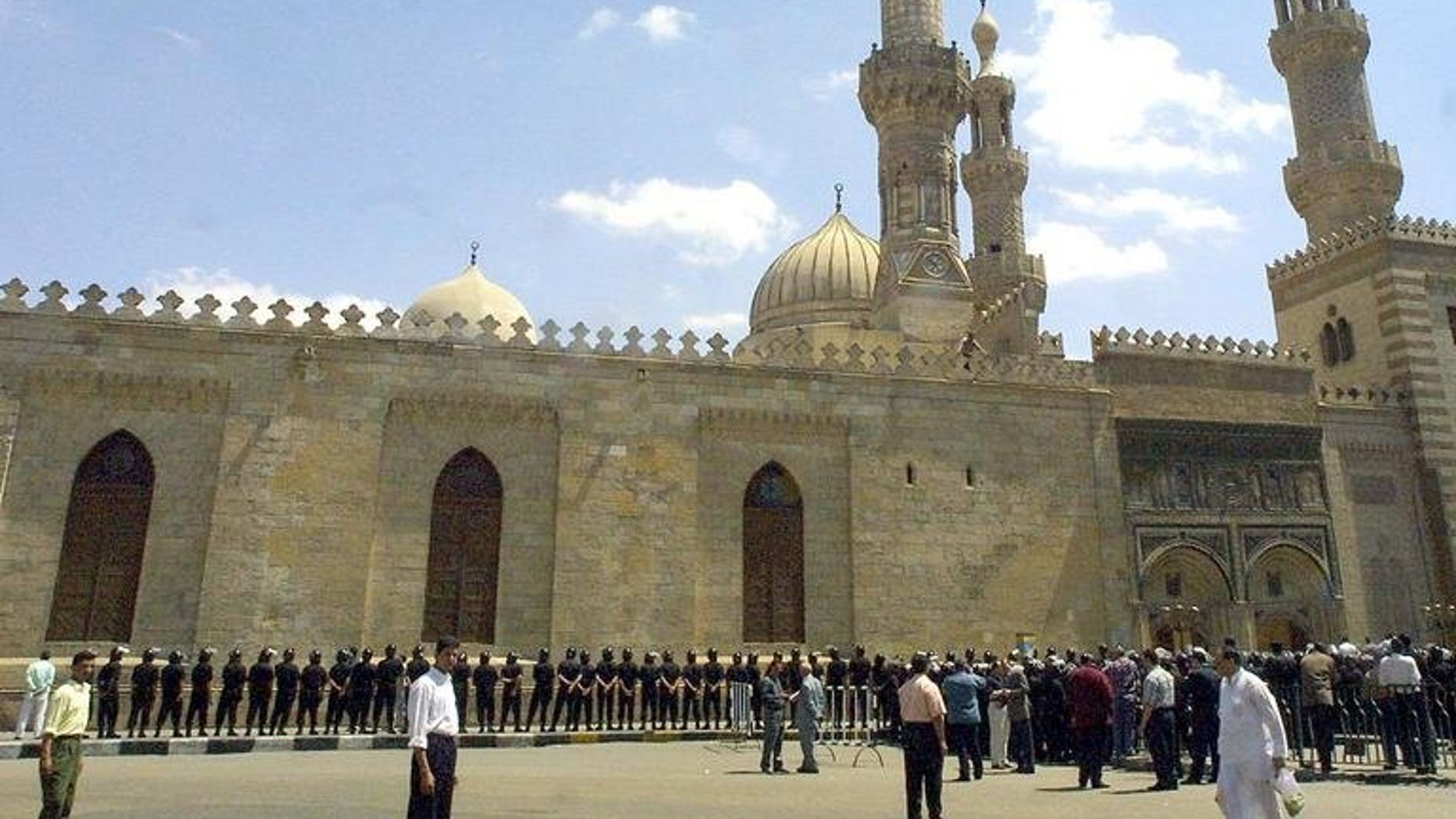 """A file picture taken on April 19, 2002 shows Cairo's al-Azhar mosque. The Al-Azhar has voiced concern about the infiltration of gunmen into """"peaceful"""" protests across Egypt demanding the resignation of Islamist President Mohamed Morsi."""