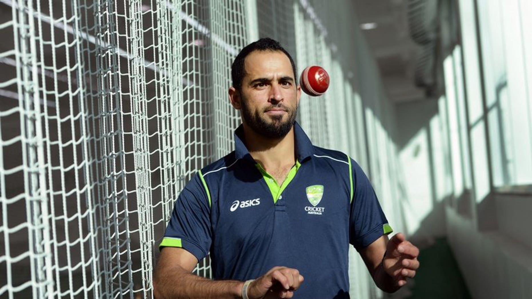 Fawad Ahmed at the indoor nets at the MCG on June 6, 2013. The Pakistan-born leg-spinner had his bid for Australian citizenship accepted, making him eligible to play in the upcoming Ashes series in England.