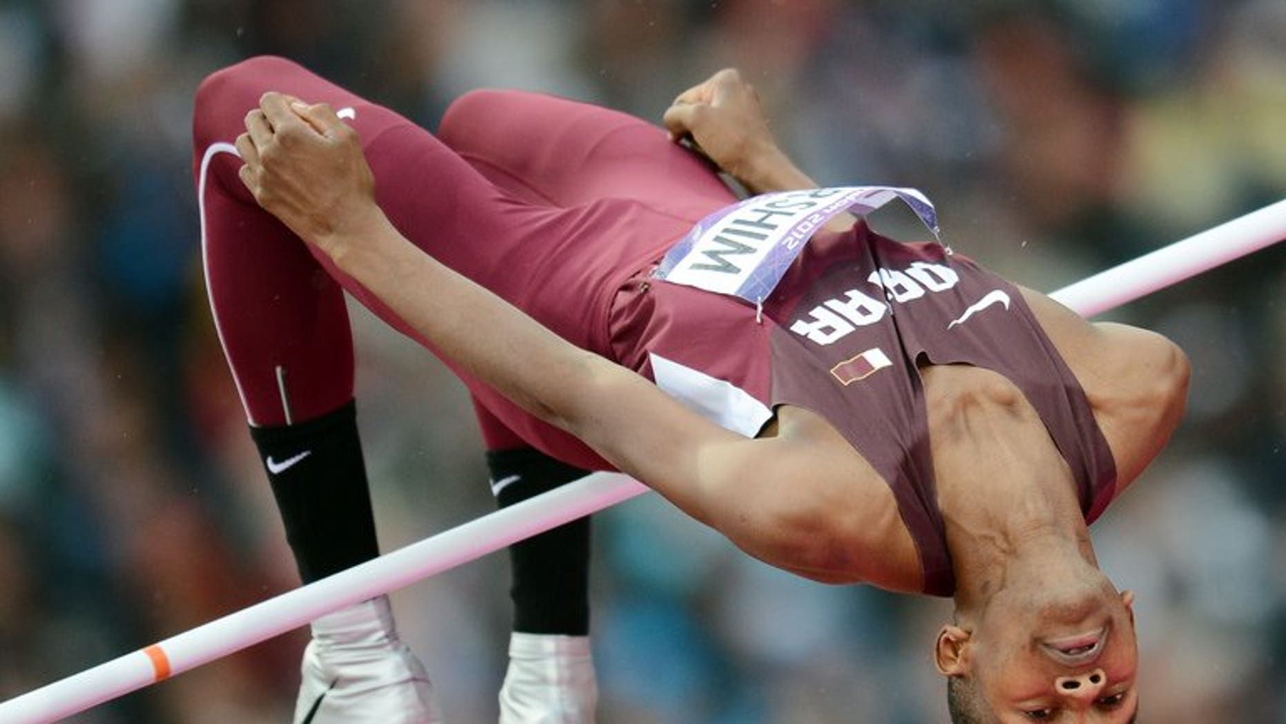 Qatar's Mutaz Essa Barshim in action at the London Olympics on August 7, 2012. He has withdrawn from the Asian athletics championships, robbing the already depleted event in India of its star attraction.