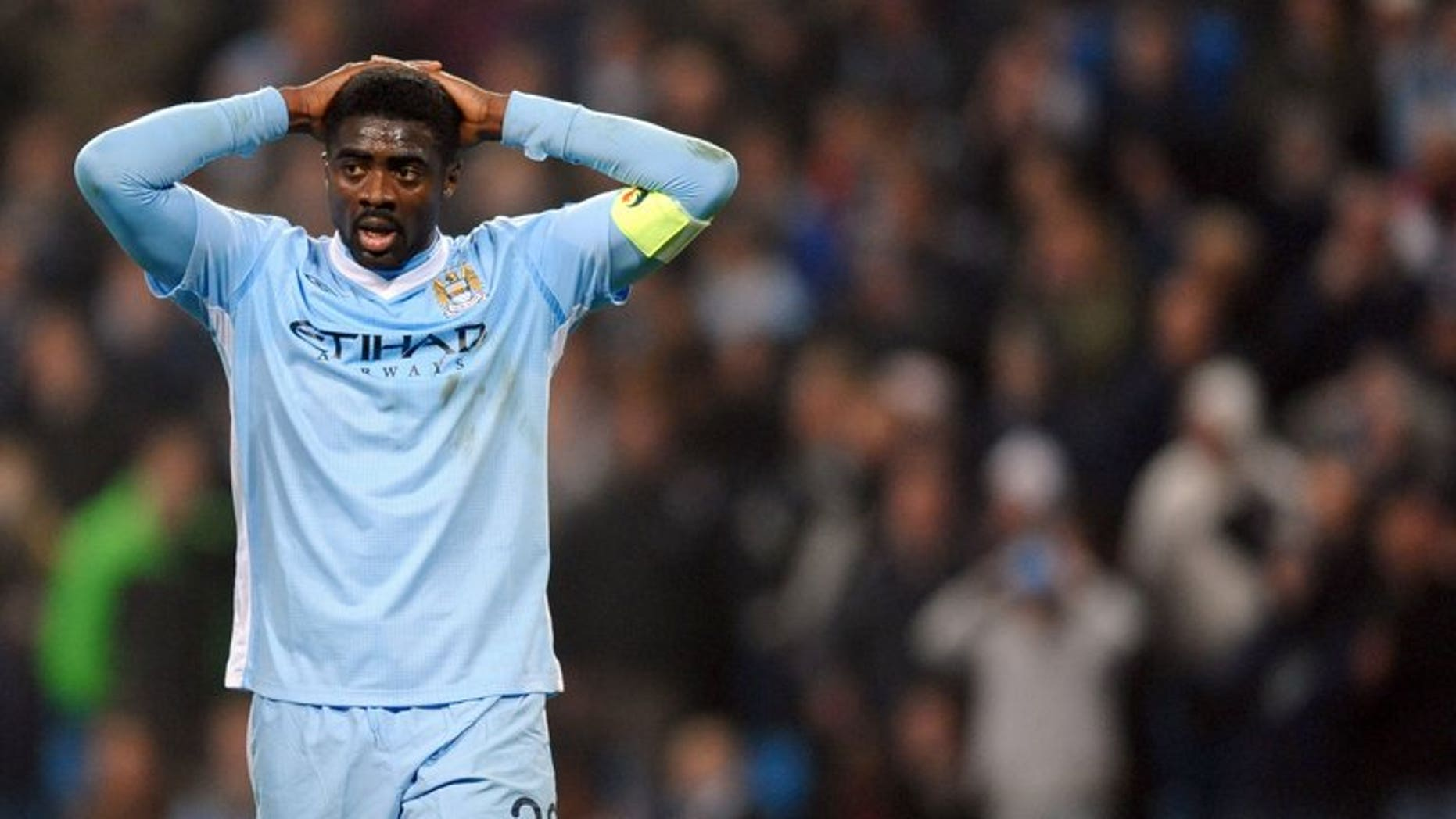 Manchester City's Kolo Toure after their UEFA Europa League defeat to Sporting Lisbon at the Etihad Stadium in Manchester, on March 15, 2012. Toure has joined Liverpool from City on a free transfer, the Merseyside club announced.