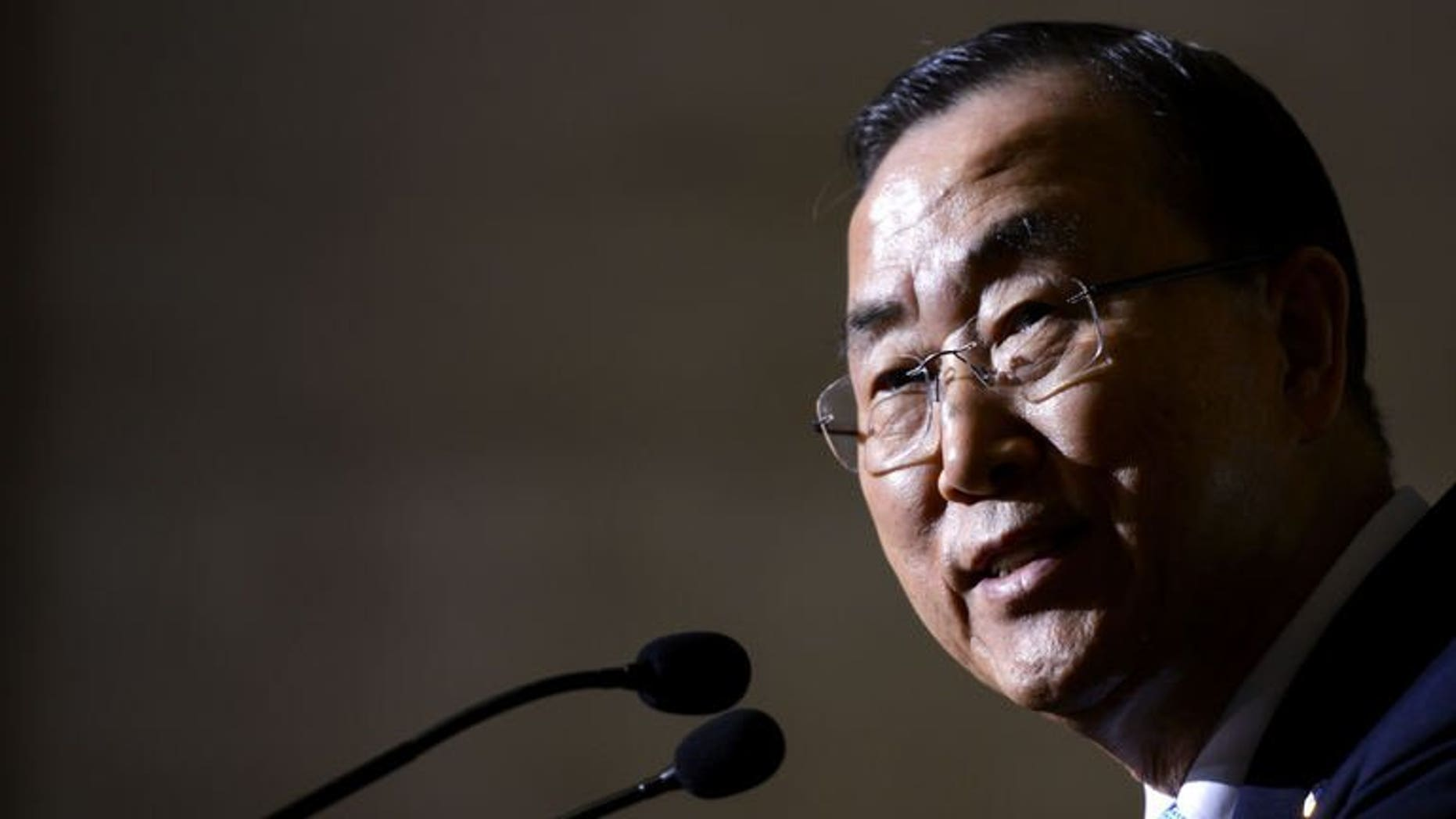United Nations Secretary-General Ban Ki-moon answers questions during a press conference in Geneva, on July 1, 2013. Ban has expressed concern about sexual violence used against female protestors in Egypt, where millions have taken to the streets to demand the ouster of President Mohamed Morsi.