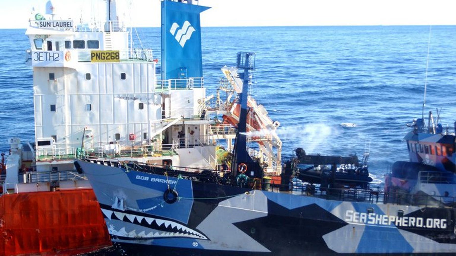 A Sea Shepherd ship (R) collides with a Japanese whaling fleet fuel tanker on February 25, 2013. Militant anti-whaling organisation Sea Shepherd Australia suffered a blow to its fundraising hopes when a court rejected a bid for donations to be tax-deductible.
