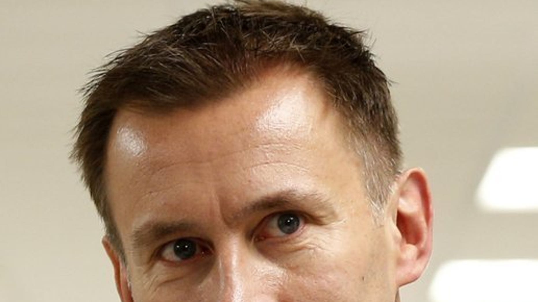 Jeremy Hunt, then Britain's health secretary, is pictured during a tour of University College Hospital HQ and Education Centre in central London on June 21, 2013. (Associated Press)
