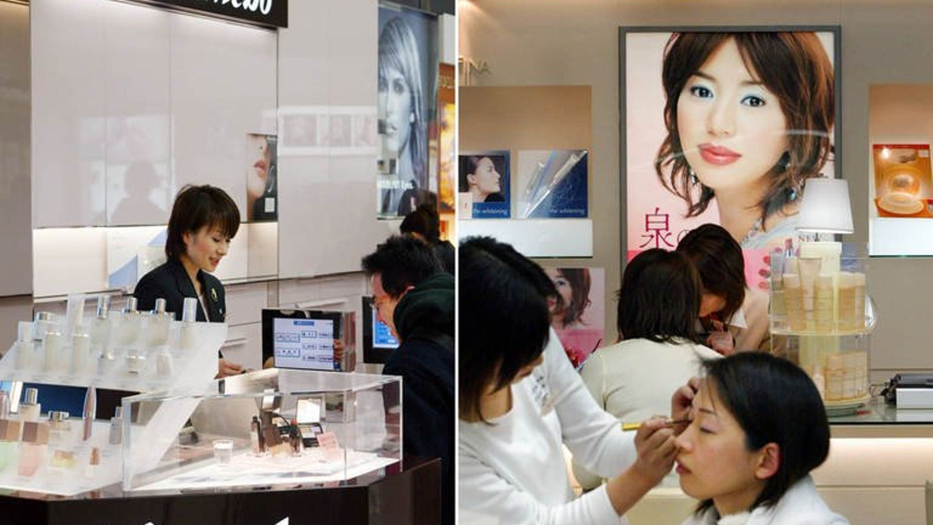 A Japanese cosmetic maker Kanebo stand is shown in a shop in Tokyo in 2004. Kanebo has announced it is recalling 54 skin whitening products from all over Asia because of fears they could cause white patches and uneven colouring.