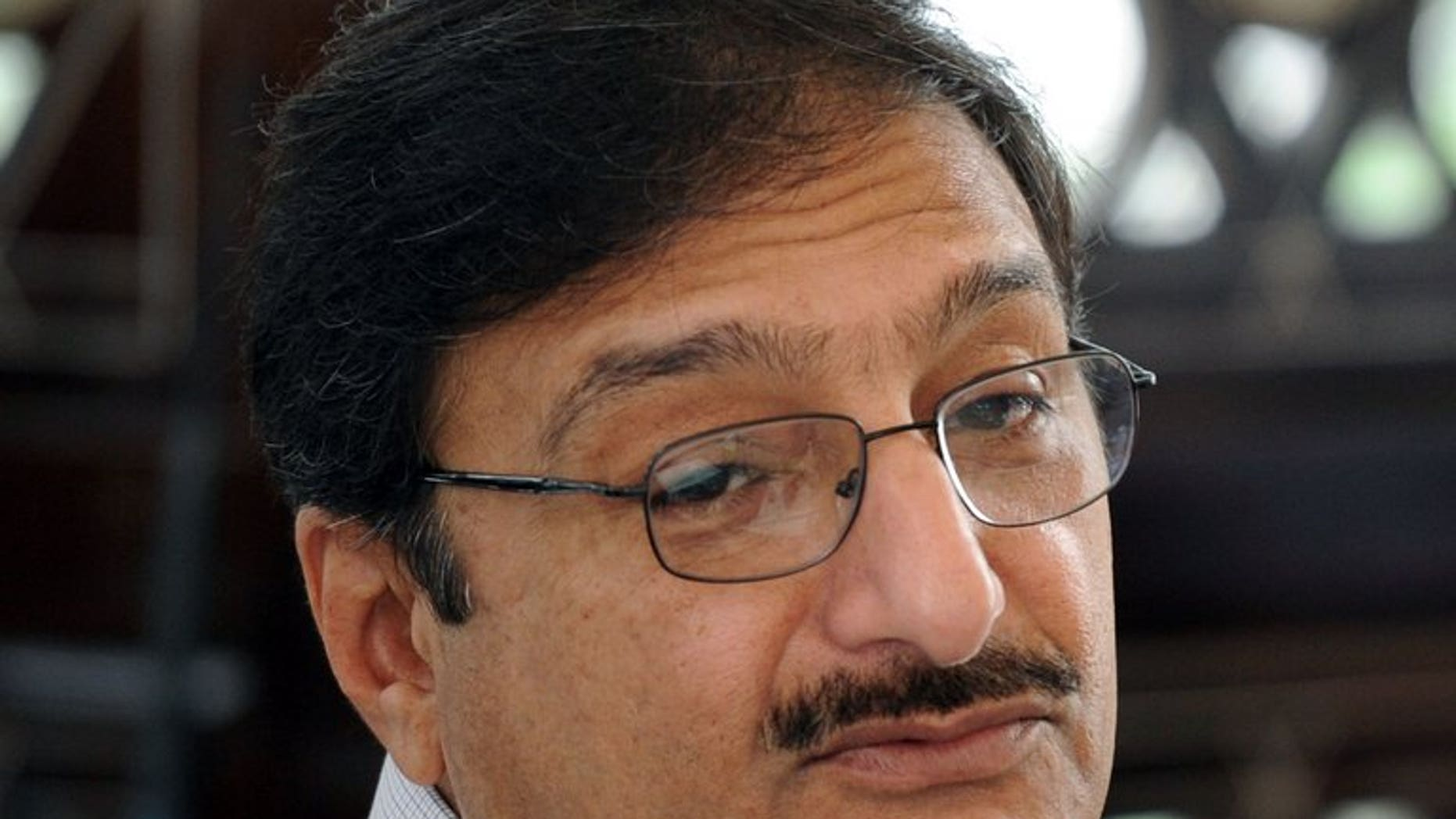 Former chairman of Pakistan Cricket Board (PCB) Zaka Ashraf speaks during a press conference in Dubai on September 10, 2012. A court in Pakistan ordered the country's cricket board to re-elect a chairman within 90 days after Ashraf was suspended over concerns about a dubious ballot.