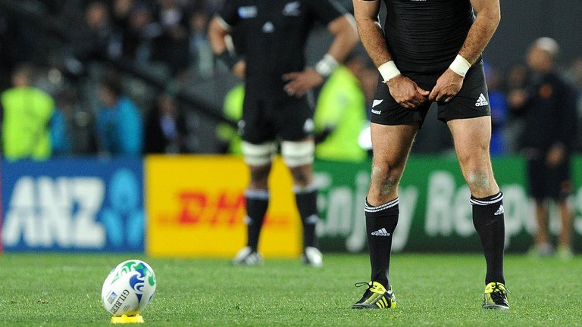 New Zealand All Blacks' Stephen Donald prepares to score the crucial penalty against France during their 2011 Rugby World Cup final match at Eden Park Stadium in Auckland, on October 23, 2011. Much-maligned Donald's unlikely role in N.Z.'s narrow win will be immortalised in a movie, according to reports.