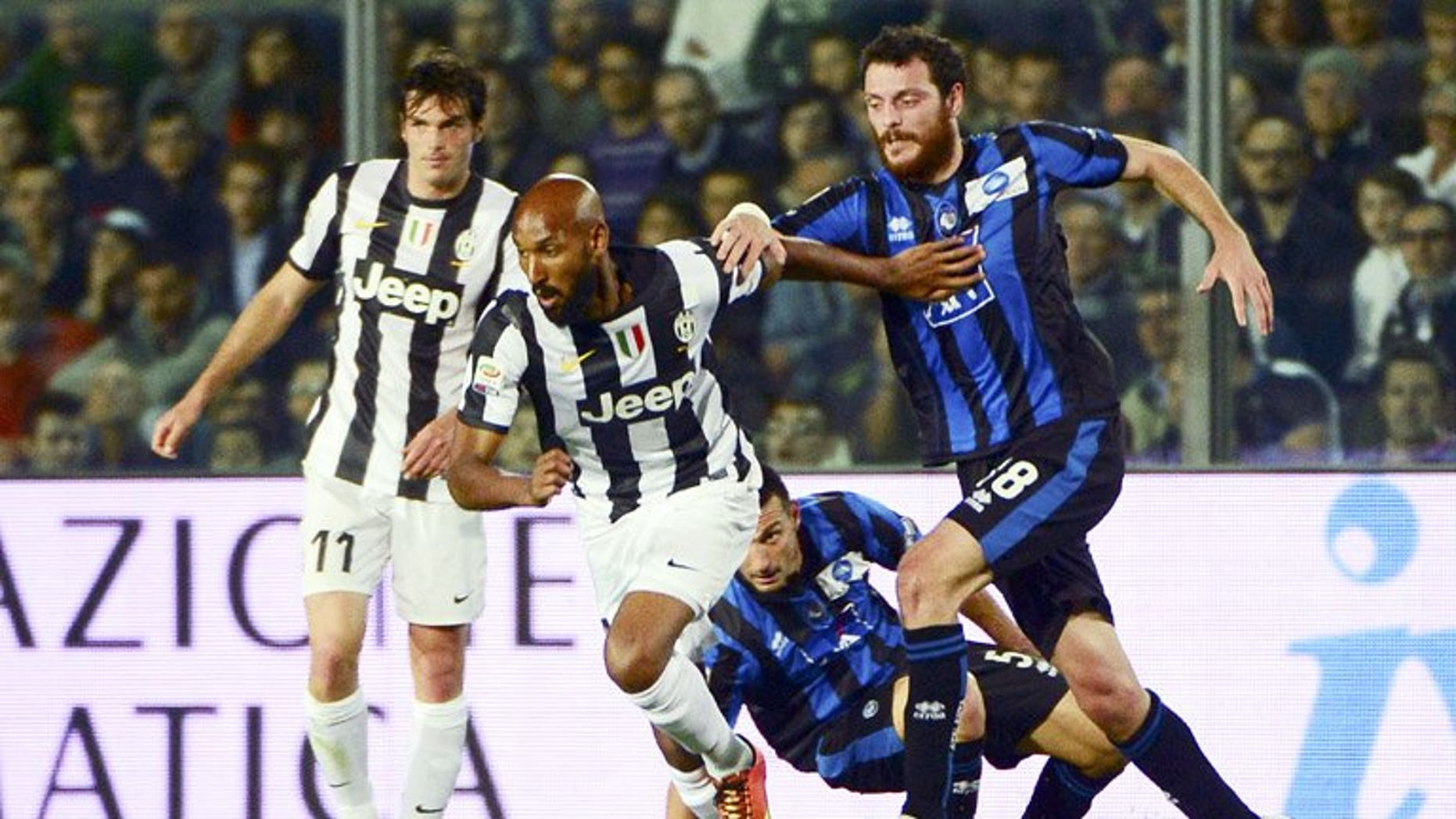 Nicolas Anelka (centre) on the ball for Juventus against Atalanta in Bergamo on May 8. Anelka is ready to end his nomadic career at West Bromwich Albion after joining the Premier League club on an initial one-year contract, the French striker said Friday.