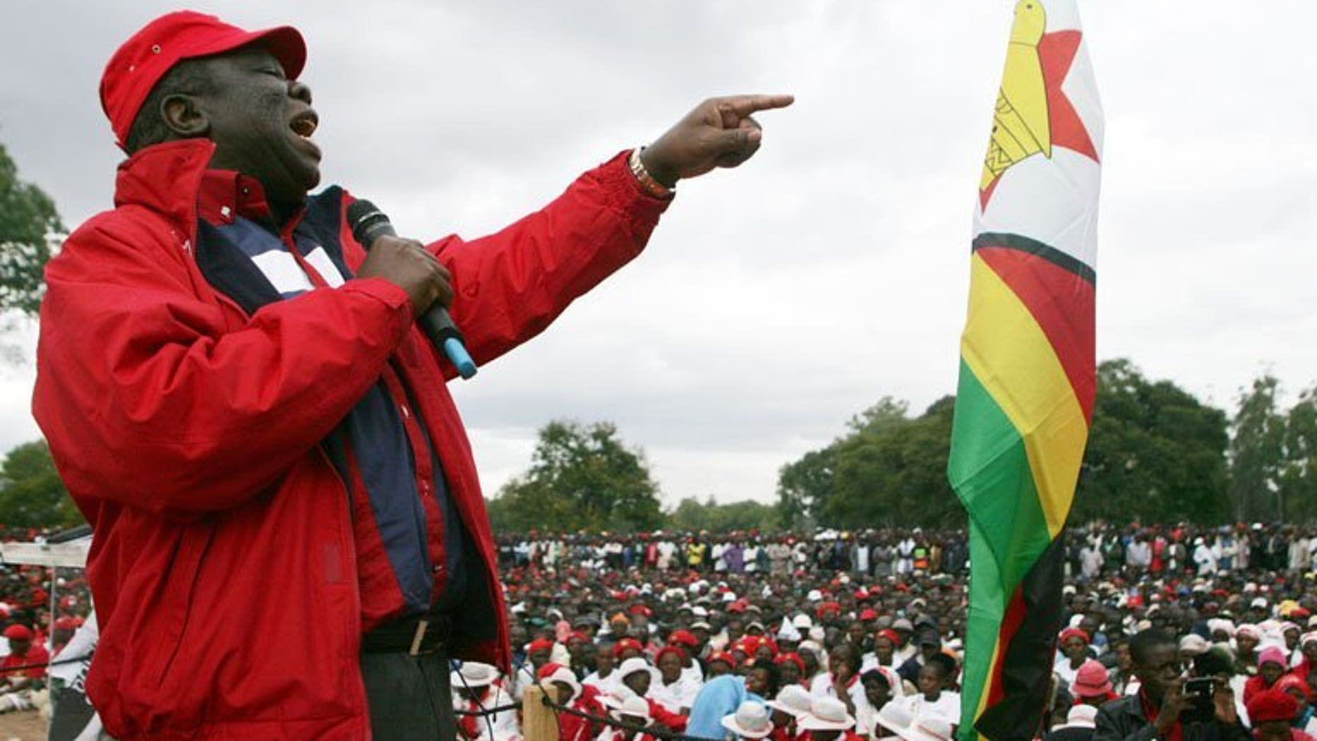 """Morgan Tsvangirai speaks to party supporters at a party rally in Harare in May. There have been """"no reforms"""" to guarantee that upcoming July 31 polls in Zimbabwe would be free and fair, the prime minister said on Sunday."""