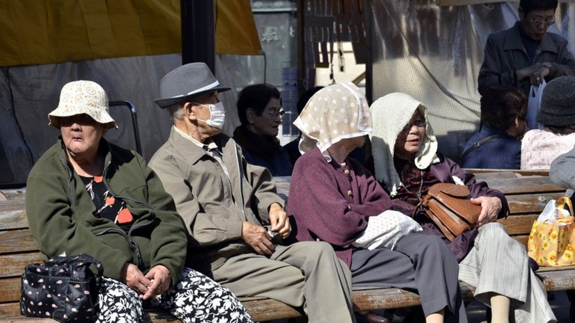 Elderly people take a rest in Tokyo on October 28, 2011. The number of elderly people caught shoplifting in Japan's capital city has outstripped that of teenagers for the first time since records began, a report said.