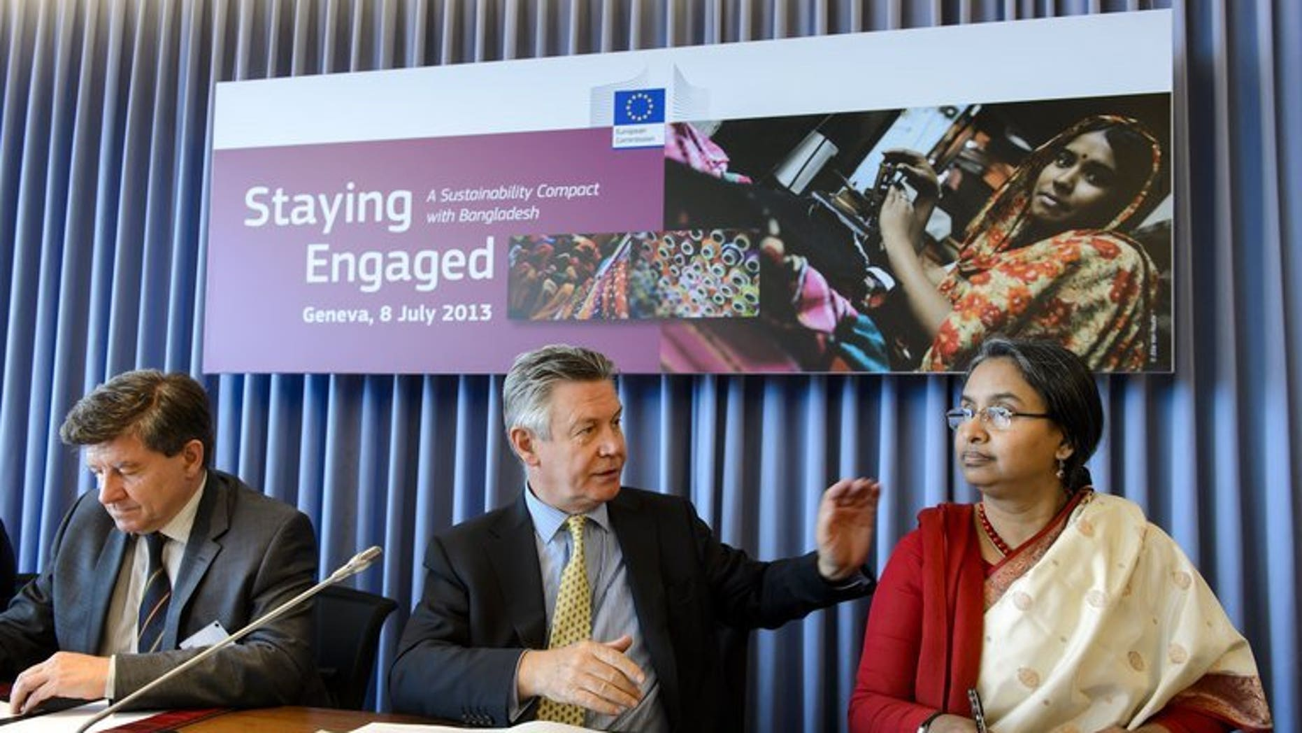 International Labor Organization Director-General Guy Ryder (L), EU trade commissioner Karel De Gucht and Bangladeshi Foreign Minister Dipu Moni on July 8, 2013 meet with employee, industry and employer representatives focused on improving trade and sustainable development in the ready-made garment industry in Bangladesh.