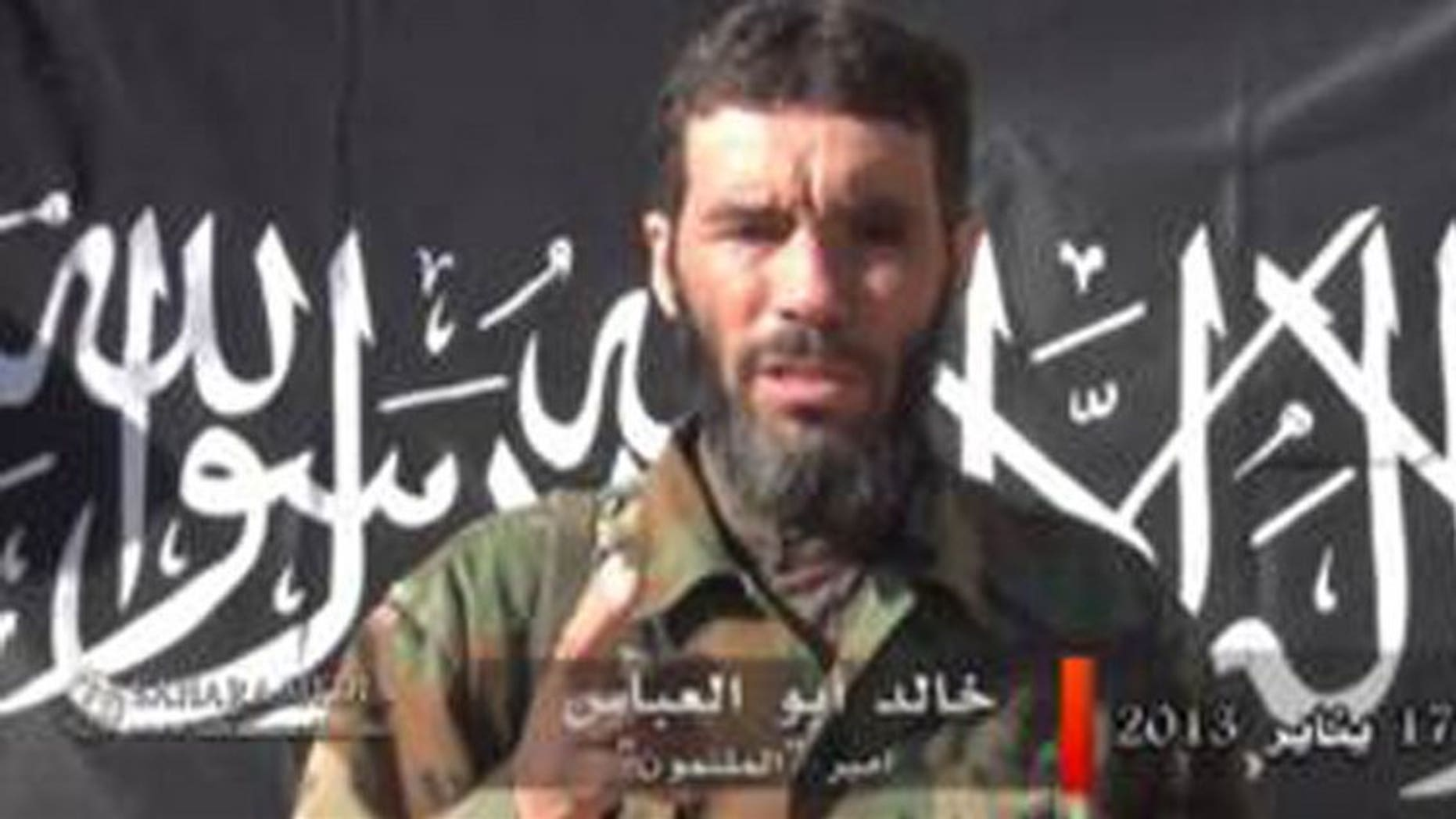 An image by Sahara Media released on January 20, 2013, shows Algerian jihadi mastermind Mokhtar Belmokhtar giving a statment. An Al Qaeda splinter group founded by Belmokhtar on Monday claimed that it was behind a deadly prison break in Niger last month, a statement published by online news agency ANI said.