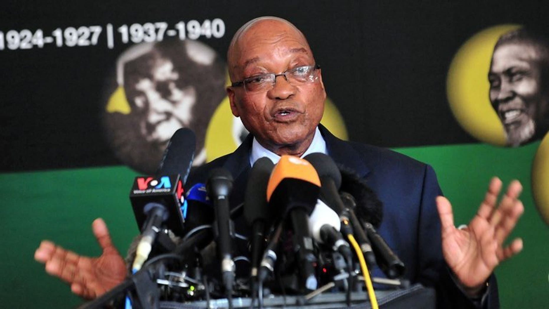 South African president Jacob Zuma speaks pictured in Johannesburg on June 24, 2013. An embattled Zuma reshuffled his cabinet with less than a year to go before elections Tuesday, axing key allies and ousting Tokyo Sexwale, a long-time big-hitter of the ruling ANC party.