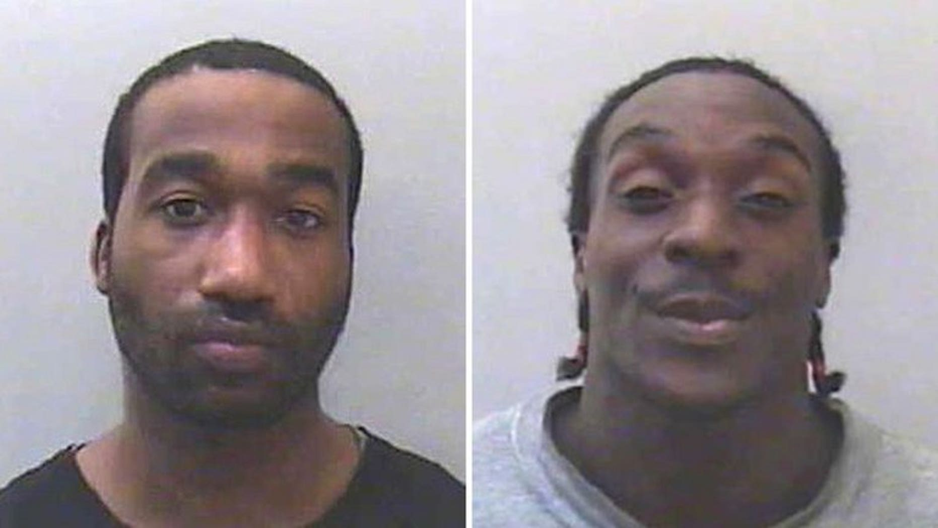 A combination of handout pictures released by the Devon and Cornwall Police on April 3, 2013 shows custody photographs of British men Kevin Liverpool (L) and Junior Bradshaw (R). Bradshaw who joined his flatmate in plotting to rob and murder soul singer Joss Stone was jailed for 18 years by a British court on Tuesday.
