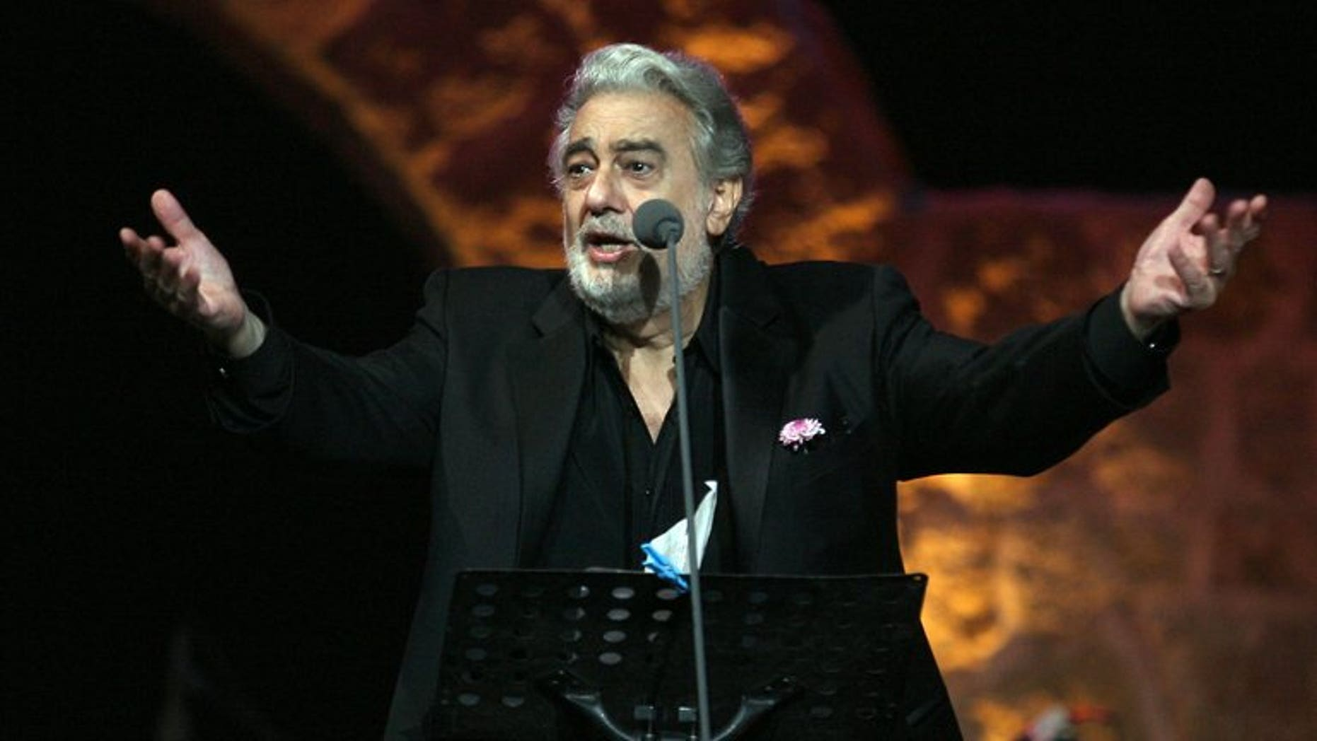 Spanish tenor Placido Domingo performs in Zouk Michael, Lebanon, on July 17, 2011. Domingo is being treated in a Madrid hospital for a pulmonary embolism, a blockage of an artery of the lungs, his agents said Tuesday.