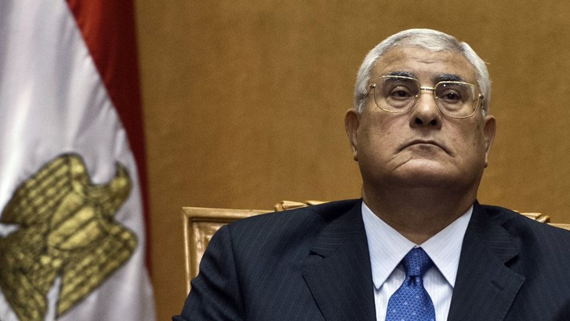 Egypt's chief justice Adly Mansour is sworn in as interim president in Cairo on July 4, 2013, a day after the military ousted and detained president Mohamed Morsi following days of massive protests. Mansour's interim charter hit a wave of opposition shortly after it was announced late on Monday, illustrating the treacherous political landscape following Morsi's ouster.