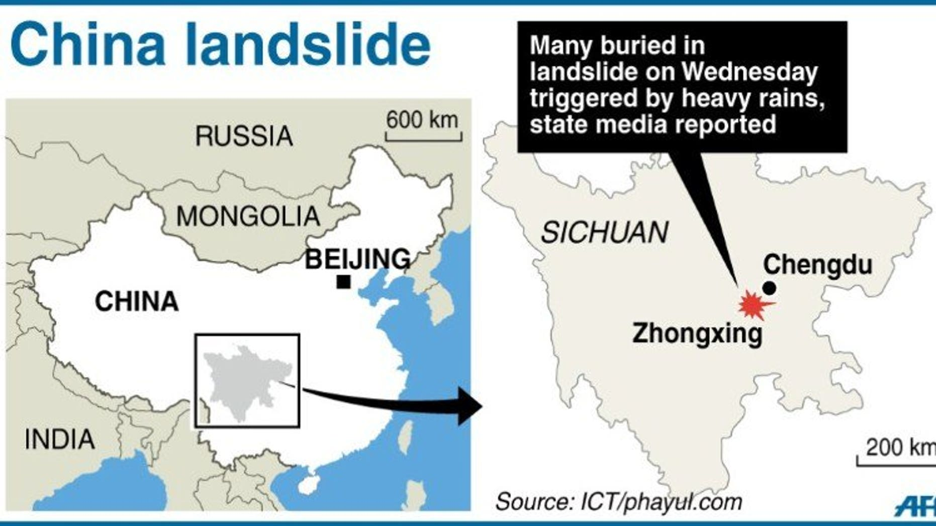 Graphic map locating Zhongxing in China's Sichuan province where 30 - 40 people have been buried by a landslide Wednesday, according to state media.